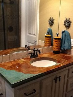 Concrete Countertop Pictures | DIY Concrete Countertop Gallery Like The  Teal Color On The Corner