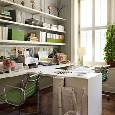I love the long book shelf and the two spaces for two people -- similar to what I had in mind for my space. I also love the clear stand up rolled paper storage!