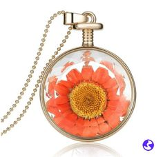 Vintage Dried Flowers Glass Pendant Necklace with Long Chain Fine Jewelry
