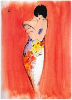 Illustration Vintage - Femme en fourreau fleuri - Gruau