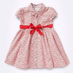 Designer baby's red cherry printed shirt dress. A cute tshirt dress for baby.