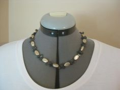 """SOLD! Item F4791 18"""" Gold freshwater coin pearl with laboradorite briolettes, gold filled lobster clasp. $60."""