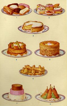 Mrs Beeton's Book of Household Management, 1861 (later edition) - Sweets; Caption should be: 1 - Eclairs; 2 - Assorted Fancy Pastry; 3 - Sponge Savoy Cake; 4 - Gateau St. Honoré; 5 - Simmel Cake; 6 - Pancakes; 7 - Pyramid Cream; 8 - Croquettes of Rice