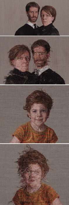Cayce Zavaglia - Embroidered portraits of close friends.  Front and backside views.