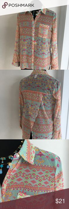 Spring Colorful Shirt NWOT No Boundaries Junior long sleeves button down Shirt. Pretty color. No Boundaries Tops Button Down Shirts