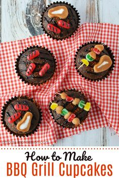 These adorable BBQ Grill Cupcakes will be the hit of any Father's Day party or outdoor summer BBQ. Made with brownies or chocolate cupcakes, these bbq cupcakes are easier to make than you might think. Get the easy step-by-step directions. Fathers Day Cupcakes, Fathers Day Cake, Bbq Cake, How To Make Bbq, Summer Cupcakes, Birthday Bbq, Birthday Ideas, Cupcake Wars, Themed Cupcakes