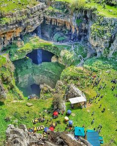 Baatara gorge waterfall, in the Tannourine, Lebanon. The waterfall drops 255 metres into the Baatara Pothole, a cave of Jurassic limestone located on the Lebanon Mountain Trail. The cave is also known as the Cave of the Three Bridges.