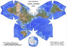 Waterman butterfly projection map, Pacific centered