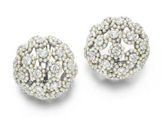 Pair of Diamond and Pearl Ear Clips, By Viren Bhagat