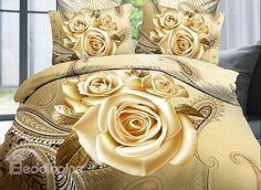 Home Textile Golden Rose Bedding Set HD Flower Printing Bed Linens Duvet Cover Bed Sheet Pillowcase Queen Size Cheap Bedding Sets, Cotton Bedding Sets, Red Bedding, Bedding Sets Online, Queen Bedding Sets, Luxury Bedding Sets, Floral Bedding, Comforter Sets, King Comforter