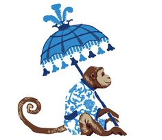 monkey with parasol blue Chinoiserie Fabric, Chinoiserie Chic, Monogrammed Stationery, Custom Stationery, Watercolor Animals, Watercolor Ideas, Monkey Art, Motifs Animal, Needlepoint Designs