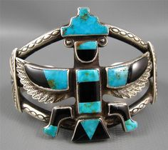 Blue Gem Turquoise Jet Inlay Knifewing Bracelet -*-*-56+