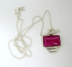 Vintage Pink Gemstone Pendant Sterling Silver by LeesVintageJewels ***ALSO SEE Vintage Jewelry at: http://MyClassicJewelry.com/shop