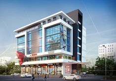 hotel exterior Visualization Of Commercial Space Office Building regarding Modern Commercial Building Exterior Design Office Building Architecture, Retail Architecture, Building Exterior, Commercial Architecture, Building Facade, Building Design, Modern Architecture, Facade Design, Exterior Design