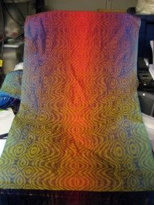Ocean sunset shawl variation, woven with yarn dyed in knitted blanks for long gradual color changes. Beautiful and intense!