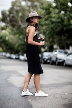 Slip dress with Stan Smiths and a hat.