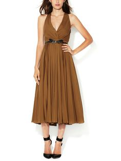 Silk Accordion Pleated Belted Dress