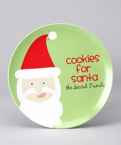 Take a look at this 'Cookies for Santa' Personalized Plate by Lima Bean Kids on #zulily today!