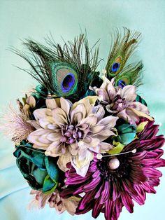 Peacock Wedding Flowers, Purple Silk Bridal Bouquet Teal via Etsy