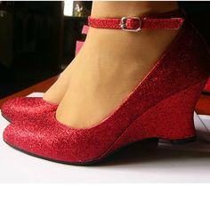 Red PU Leather Wedge Wedding Bridal Party Evening Bridesmaid Dressy Shoes SKU-1090020