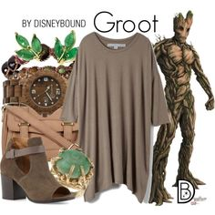 Groot by leslieakay on Polyvore featuring Raquel Allegra, Alberto Fermani, Accessorize, Soul Journey Jewelry, disney, disneybound and disneycharacter