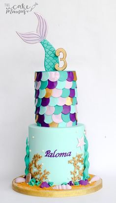 Mermaid themed birthday cake