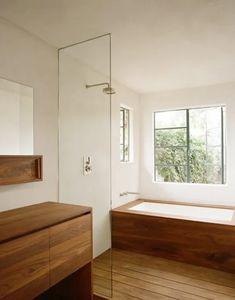 Find Your Zen: 19 Spa Bathroom Ideas Wooden Bathroom, Bathroom Renos, Laundry In Bathroom, Small Bathroom, Bathroom Ideas, Bathroom Designs, Warm Bathroom, Bathroom Canvas, Natural Bathroom