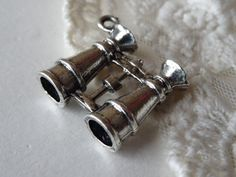 1 Binocular Pendant 3D Nautical Silver Bird Watching by BuyDiy