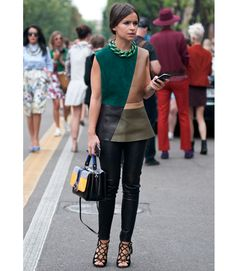 Here, it's all perfect. We couldn't pick out one aspect of her outfit that looks out of place! Not to mention, we love the background of this image!   - MarieClaire.com