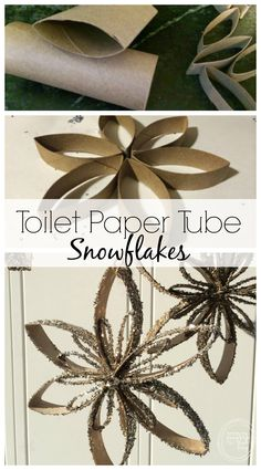 Reuse old toilet paper tubes to make snowflake ornaments