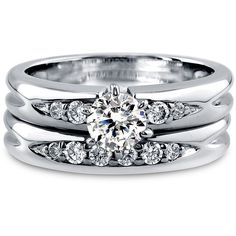 BERRICLE Sterling Silver 0.9 ct.tw Round CZ Solitaire Engagement... ($65) ❤ liked on Polyvore featuring jewelry, rings, 2 piece ring set, clear, sterling silver, women's accessories, cz rings, cubic zirconia anniversary rings, sterling silver cubic zirconia rings and engagement rings