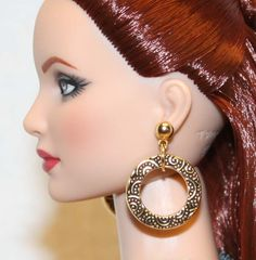 "1/2"" Gold Scroll Loop Earrings for Tonner Tyler Ellowyne Dee Anna AM Sybarite"