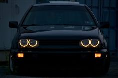 VW MK3 Golf angel eyes headlights. Fancy LED white ones