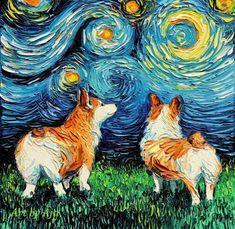 Basset Hound Art Starry Night Art Print dog art by Aja choose size and type of paper pet owner pup artwork Van Gogh, Corgi Pembroke, Corgi Dog, Corgi Meme, Canvas Art Prints, Painting Prints, Canvas Artwork, Painting Styles, Watercolor Painting