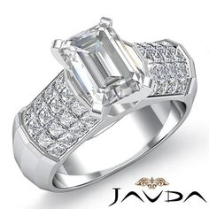 Sturdy Emerald Diamond Designer Engagement Ring GIA I VS2 14k White Gold 2.2 ct #Javda #SolitairewithAccents