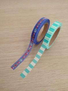 Small washi tape set of 2 green / white by LadyendeVagehond, $3.20