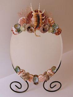Beach Decor Shell Art Table Mirror FREE by PinkPelicanDesigns, $84.00@Sherri Lippoldt