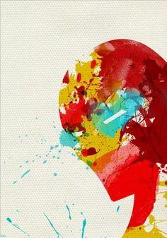 Iron Man. superb abstract paintings of superheroes byArian Noveir