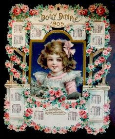 1905-Antique-Die-Cut-Fold-Out-Victorian-Calendar-Dolly-Dimple-Kitty-Cat
