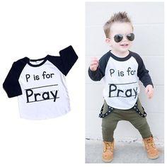 """P is for Pray"" Kids 3/4 Raglan www.reagantwentyfive.com"