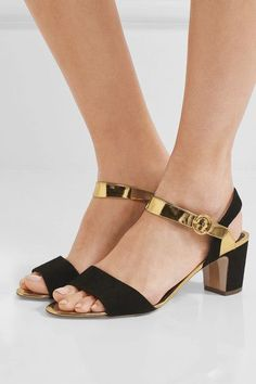 4076b591d7e0a Rupert Sanderson--Heel measures approximately 60mm/ 2.5 inches Black suede,  gold mirrored-leather Buckle-fastening ankle strap Made in Italy