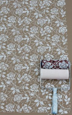 Sea Rose Patterned Paint Roller and Applicator Set from NotWallpaper paint furniture, walls, floors paper and more! www.notwallpaper.com