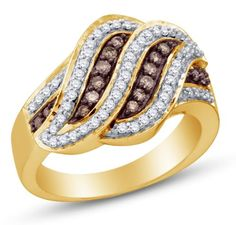 Size 8 - 10K Yellow and White Two 2 Tone Gold Channel Set Round Cut Chocolate Brown and White Diamond Ladies Womens Fashion, Wedding Ring OR Anniversary Band (1/2 cttw.) * Click image to review more details.