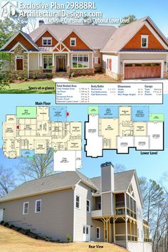 Introducing Architectural Designs Exclusive House Plan 29888RL! This home gives you 3 beds on the main floor (2,798 sq. ft.) PLUS an optional finished lower level (1,200 sq. ft.). Ready when you are. Where do YOU want to build?