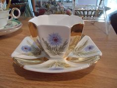 Unusual SHELLEY Queen Anne Octagonal Cup & Saucer - Gold & Blue Floral Panels