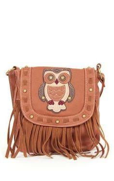 Deb Shops cross body #handbag with #owl and fringe $20.61