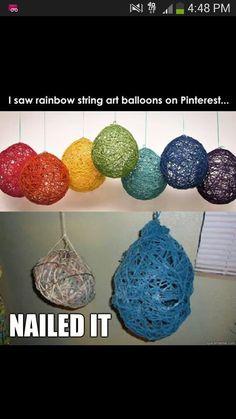 Humor, rainbow string balloon art. Nailed it!