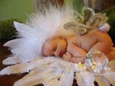 fairy baby white BUNNY on DAISY ooak art doll wing fantasy fairies crystal