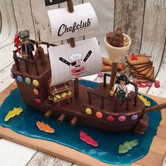 Pirate Birthday Cake, Candy Birthday Cakes, 30th Birthday Parties, Candy Castle, Pirate Ship Cakes, Pirate Kids, Fantasy Cake, Number Cakes, Cakes For Boys