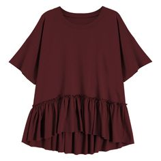Short Sleeve Ruffle Hem T-Shirt ($15) ❤ liked on Polyvore featuring tops, t-shirts, t shirt, red tee, short sleeve t shirt, ruffle hem top, red t shirt and red top